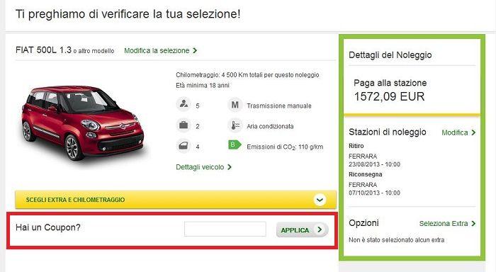 coupon sconto europcar