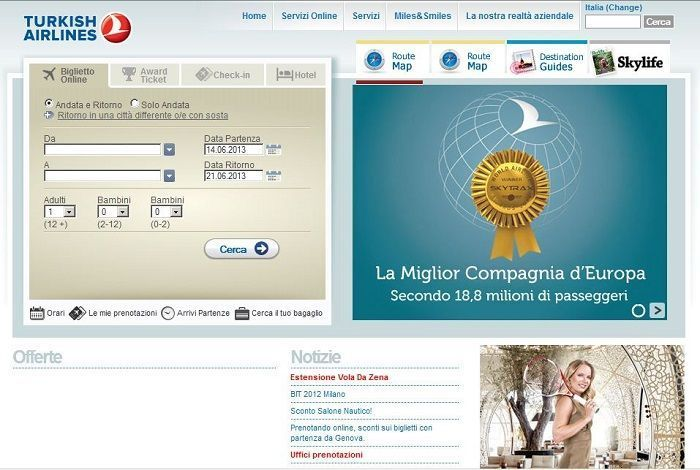 sconto turkish airlines