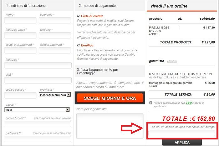 codice coupon cambio gomme