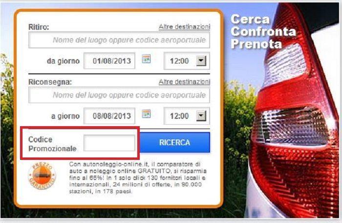 codice promozionale autonoleggio-online